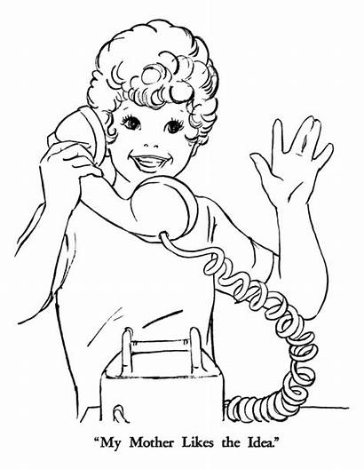 Coloring Phone Colouring Pages Talk Clipart Sheets
