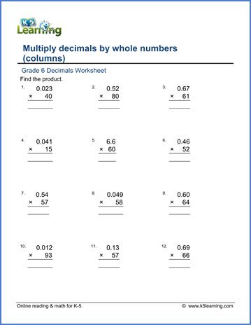grade 6 math worksheet decimals multiplying decimals by