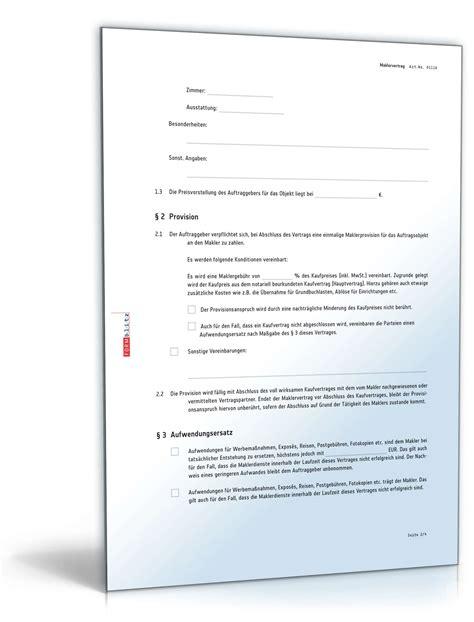 maklervertrag suchauftrag kaeufer muster zum