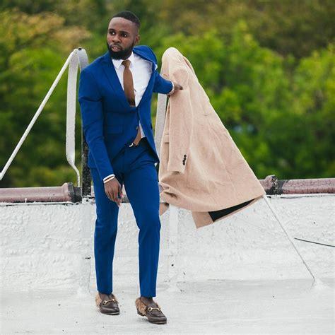 blue suit dark brown styled shoe stylemann