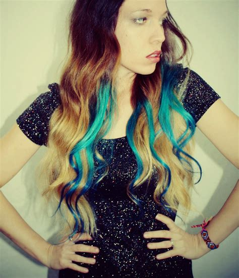 Ombre Turquoise Blue Tip Dyed Hair Extensions Dark