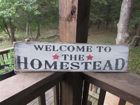 Primitive Sign Welcome The Homestead Etsy