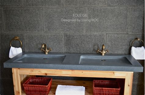 mm double sink bathroom real granite stone basin sink
