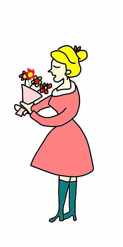 Clipart Smelling Flower Smells Lady Smell Cartoon
