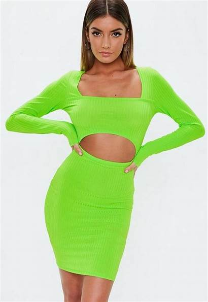 Neon Mini Cut Ribbed Dresses Missguided