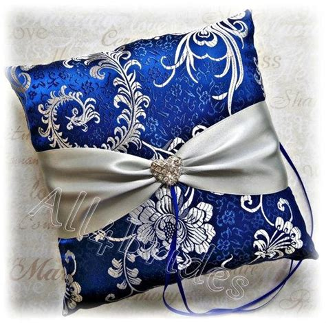 royal blue and silver wedding ring pillow blue and grey ring bearer wedding ring cushion