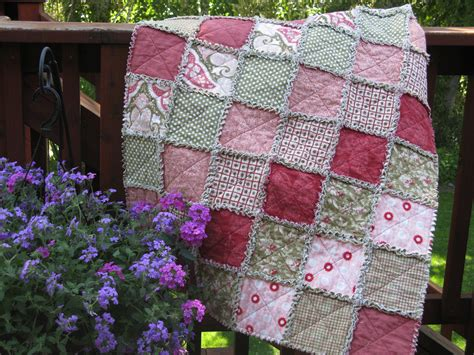 shabby fabrics flannel shabby chic rag quilt flannel pink and green