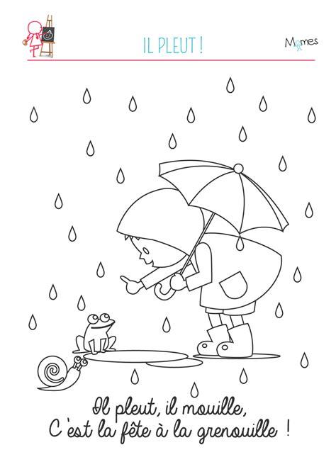 coloriage automne il pleut il mouille momesnet