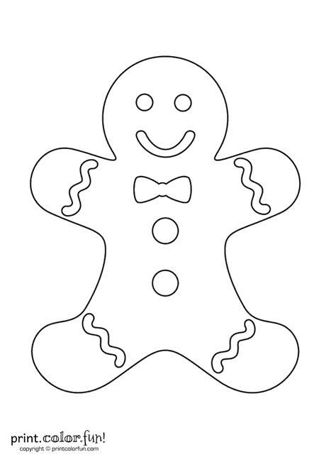 gingerbread man coloring page print color fun