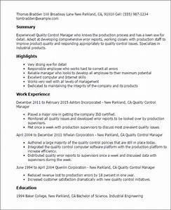 professional quality control manager templates to showcase With resume for quality control in food industry