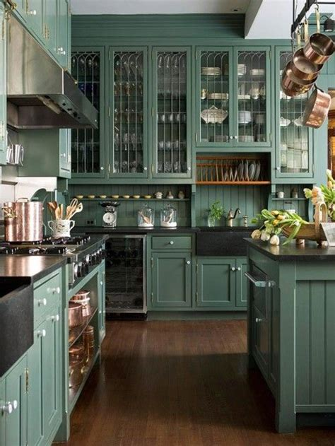 Green Kitchen Cabinet Doors by Green Painted Kitchen Cabinets With Bead Board Backsplash