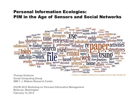Personal information ecologies erickson