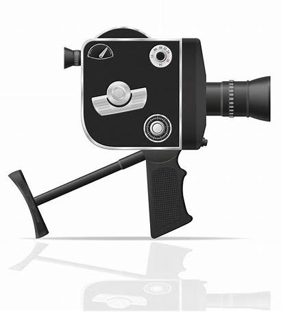 Camera Vector Retro Illustration Background Cinema Clipart