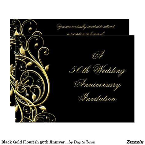 Black Gold Flourish 50th Anniversary Invitation Zazzle