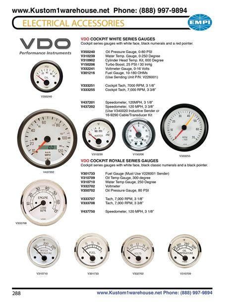 Vdo Cockpit White Royale Series Gauges Oil Pressure