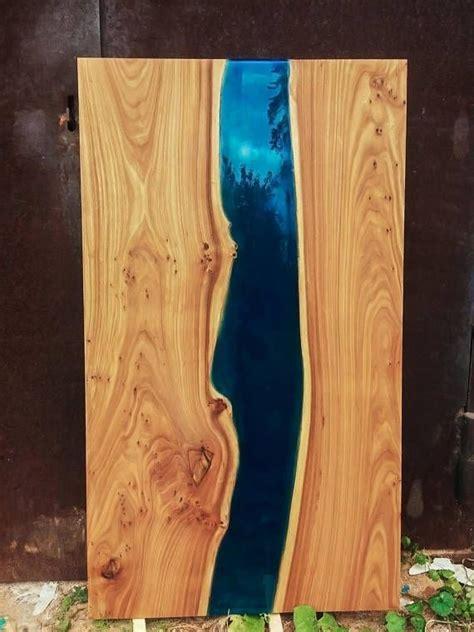 custom epoxy resin solid  edge elm wood river dining