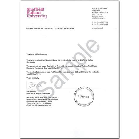 replacement award certificate sheffield hallam