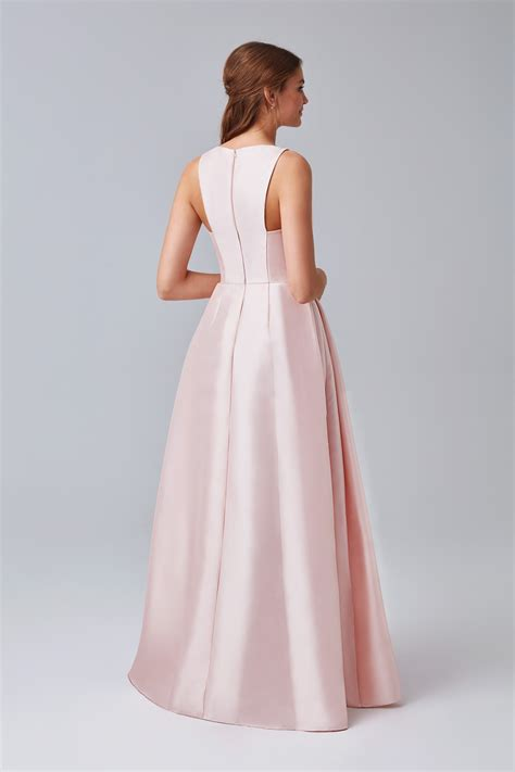 v neck mikado bridesmaid dress with side pleats f19734
