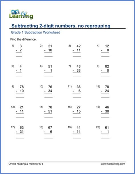 grade  math worksheet subtracting  digit numbers