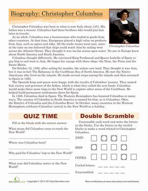 christopher columbus biography worksheet education