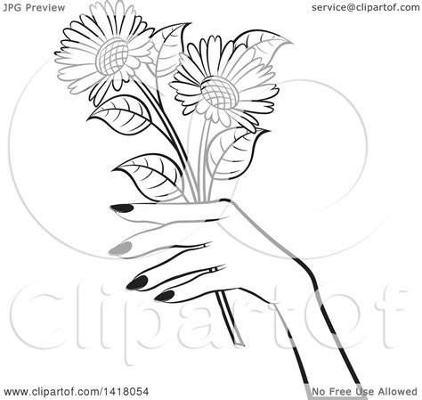 clipart   black  white womans hand holding flowers
