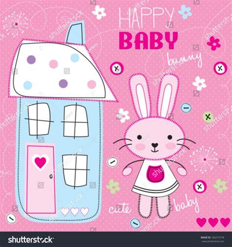 happy baby bunny vector illustration stock vector