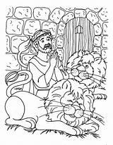 Daniel Lions Den Coloring Praying Three Times Netart sketch template