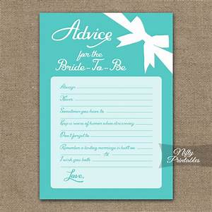 printable bridal shower advice cards tiffany blue With wedding shower advice cards
