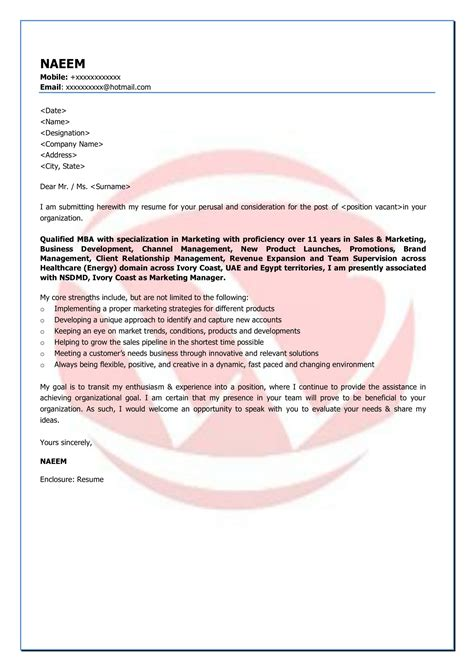 Cover Letter Mid Level Marketing by Marketing Sle Cover Letter Format Cover