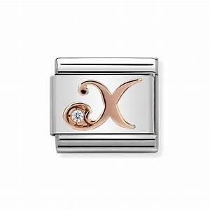 nomination classic rose gold cz letter x charm 925 treats With nomination bracelet letter charms