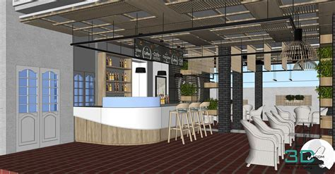 01 . Coffee Scene 01 Sketchup File Free Download   3D Mili