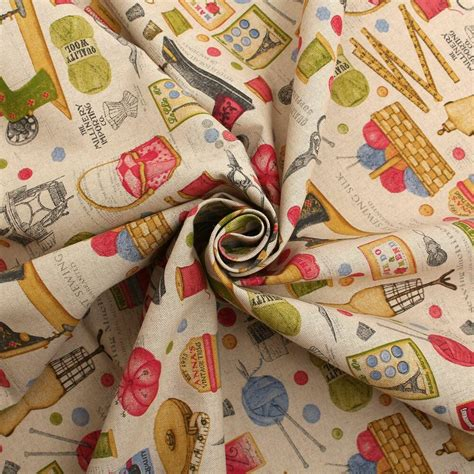 Linen Cotton Upholstery Fabric by Cotton Linen Vintage Sewing Machine Print Cushion Curtain