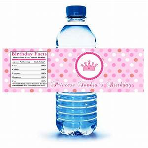 printable personalized princess water bottle labels wrappers With custom made bottle labels