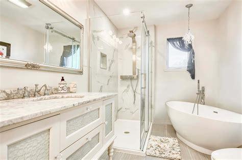 bathroom renovation   glass shower  freestanding