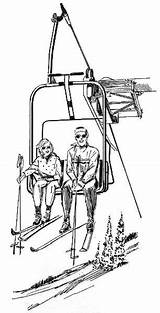 Ski Lift Chair Clipart Coloring Recreation Sports Pages  Psf Wpclipart Cartoon Winter Webp Formats Kid sketch template