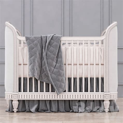 restoration hardware crib 3d models bed rh upholstered crib antique grey mist