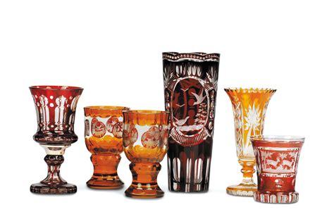 bicchieri cristallo boemia cinque bicchieri e un vaso in cristallo boemia inizio xx