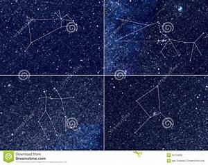 Zodiac Constellations Aries Taurus Gemini Cancer Stock ...