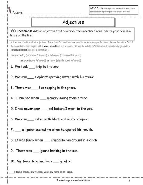 adjectives  nouns worksheets   grade grade