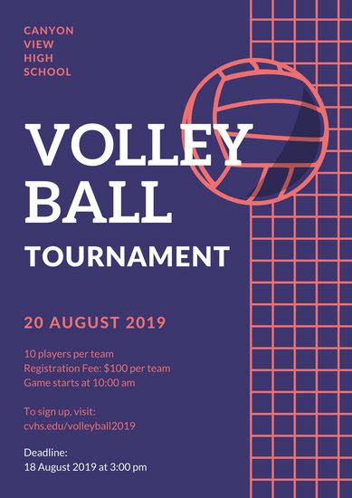 customize  volleyball poster templates  canva