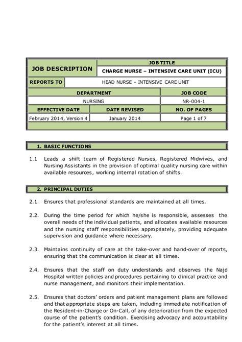 charge nurse intensive care unit icu job description