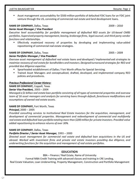 asset management resume exle