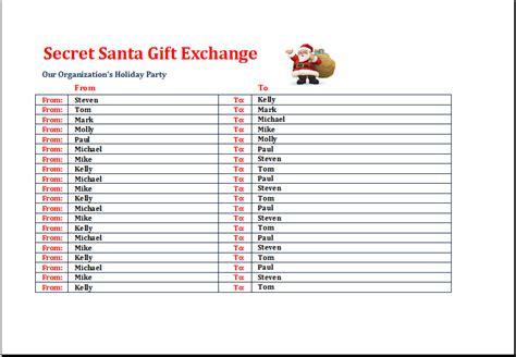 santa list template secret santa gift exchange list template excel templates