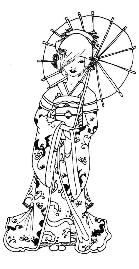 geisha coloring pages geisha coloring coloring pages