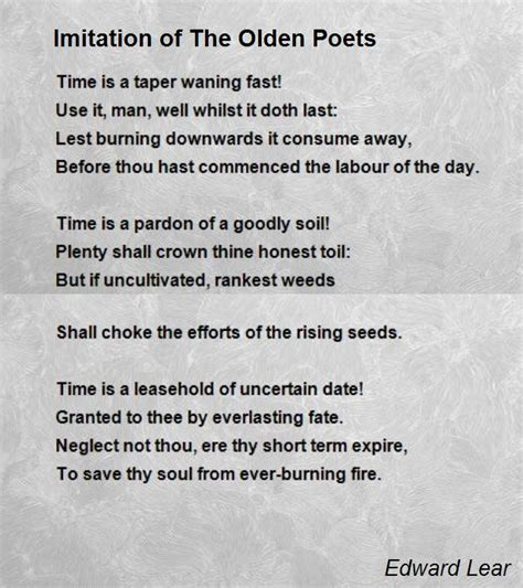 imitation   olden poets poem  edward lear poem hunter