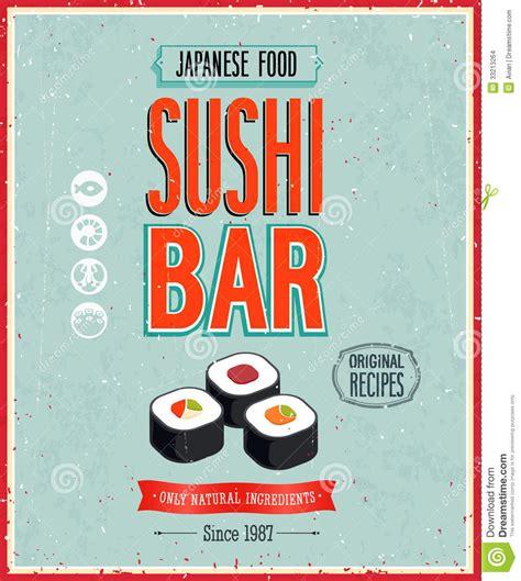 affiche cuisine vintage vintage sushi bar poster vector illustration stock