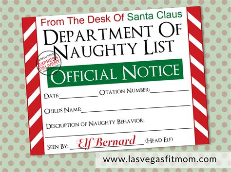 naughty list warning notice  santa  printable