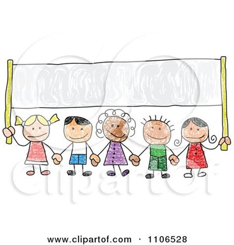 clipart stick drawing  multi ethnic children holding