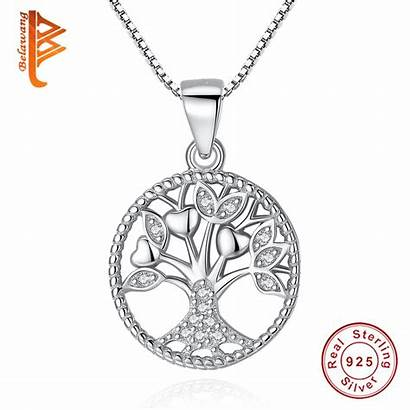 Pendant Tree Necklace Silver Chain Necklaces Sterling