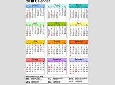 2018 Yearly Calendars with Holidays Activity Shelter